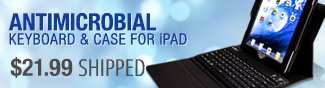 antimicrobial keyboard and case for ipad.