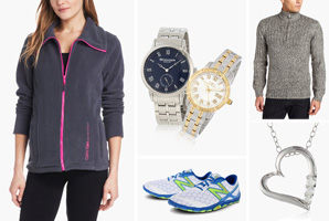 Gift ideas in clothing, shoes, jewelry, and watches.