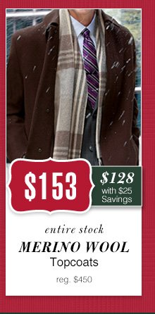 $153 USD - Merino Wool Topcoats