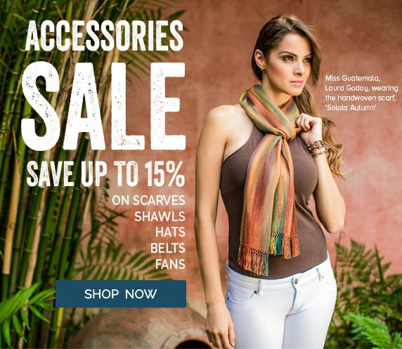 Accessories SALE - Save Up To 15% On Scarves, Shawls, Hats, Belts, Fans - Shop Now