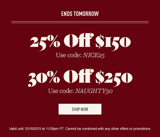 Up to 30% off sitewide.