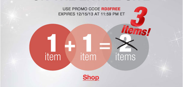 Buy any 2 items, get the 3rd Free on the Entire site! Use RD3FREE