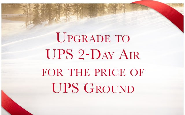 UPGRADE TO UPS 2-DAY AIR FOR THE PRICE OF UPS GROUND