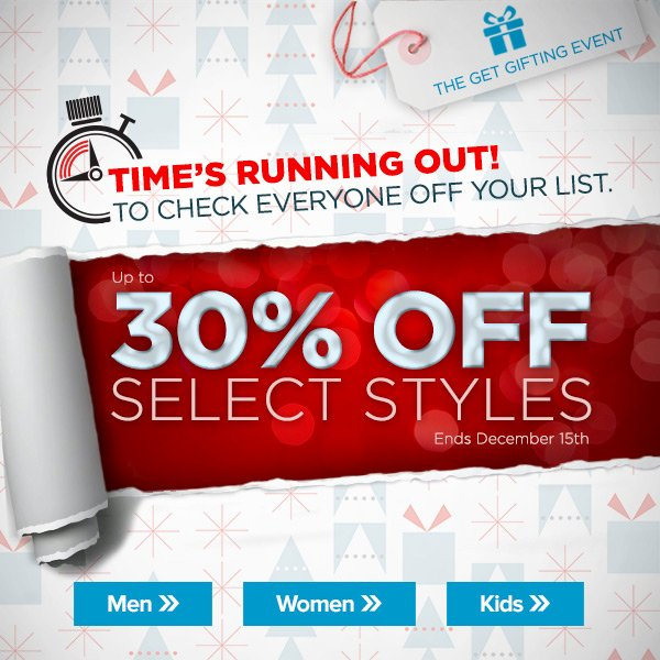 The Get Gifting Event – Up to 30% Off Select Styles