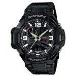 Casio GA1000FC-1A Men's G-Shock G-Aviation Twin Sensor Black Ana-Digital Dial Dive Watch