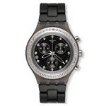 Swatch SVCM4009AG Women's Full-Blooded Stoneheart Silver Irony Diaphane Black Dial Chronograph Watch