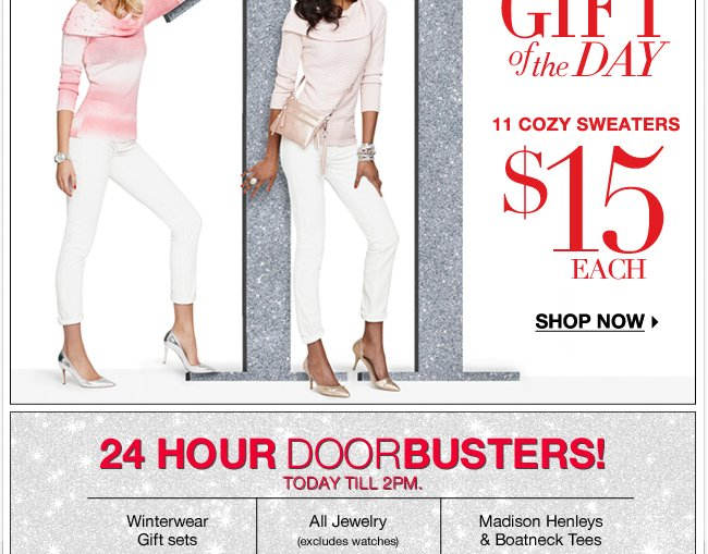 24 hour doorbusters end at 2pm today!