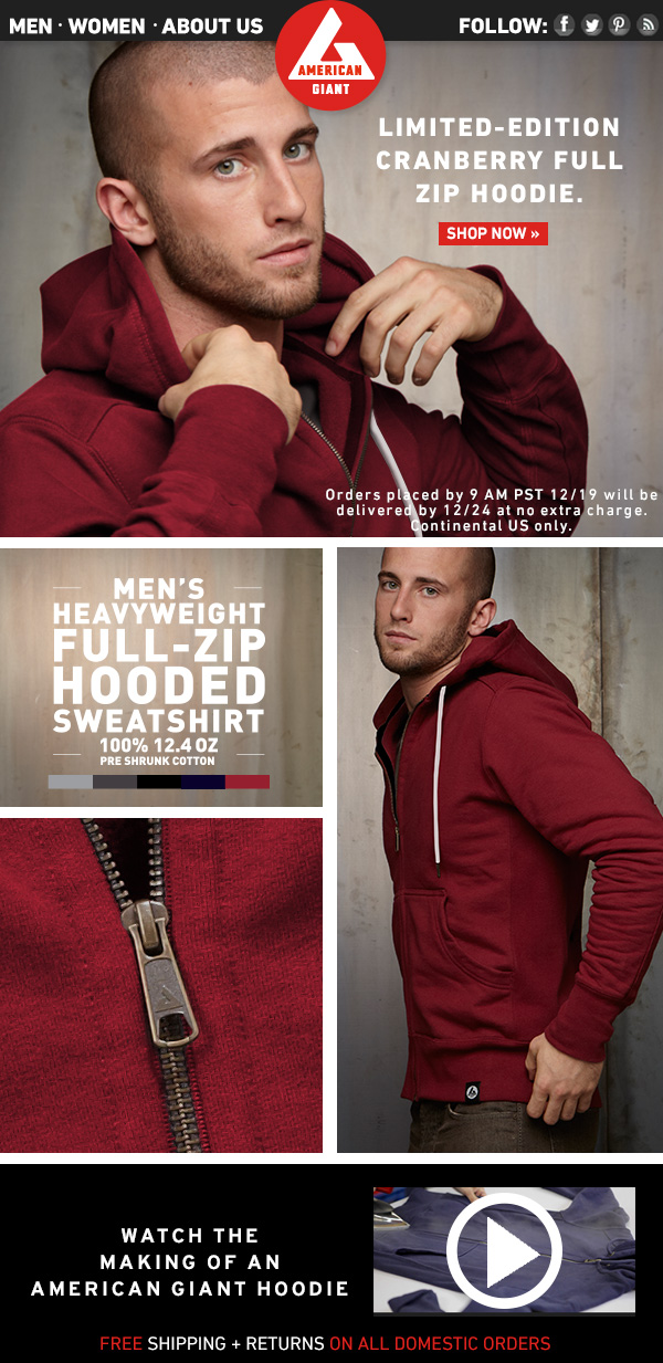 Men's Heavyweight Full Zip Hoodie Available Now in Limited Edition Cranberry