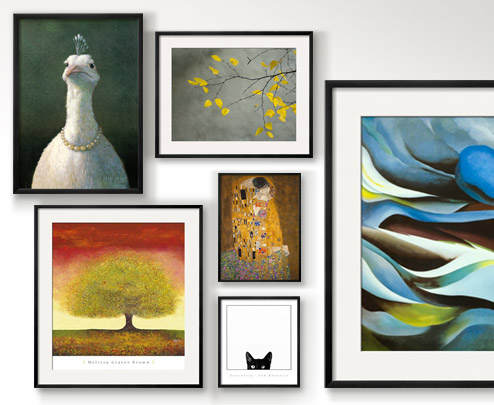 FOWL WITH PEARLS By: Michael Sowa; DREAMING TREE RED By: Melissa Graves-Brown; YELLOW AUTUMNAL BIRCH (BETULA) TREE LIMBS AGAINST GRAY STUCCO WALL By: Daniel Root; FROM THE LAKE I By: Georgia O'Keeffe; THE KISS c1907 By: Gustav Klimt; CURIOSITY By: Jon Bertelli