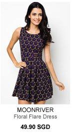 MOONRIVER Lisa Floral Flare Dress