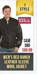 Mens Red Ranch Leather Wool Jacket