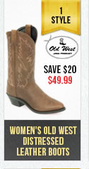 Womens Old West Distressed Boots