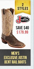 Mens Justin Bent Rail Boots