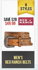 Mens Red Ranch Belts