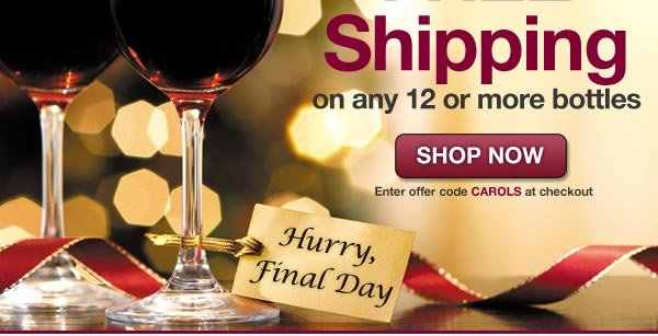 Deal Extended through Sunday: Get FREE Shipping on all orders of 12 or more bottles with offer code CAROLS