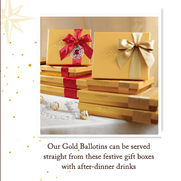 Our Gold Ballotins can be served straight from these festive gift boxes with after-dinner drinks