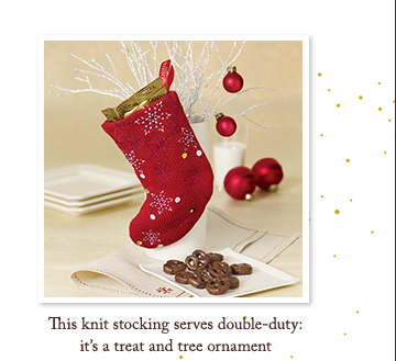This knit stocking serves double-duty: it's a treat and tree ornament