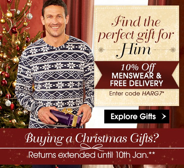 Find the perfect gifts for Him with free delivery &10% Off using code HARG7