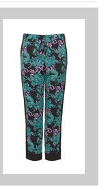 Dark Floral Block Cigarette Trousers