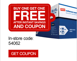 Buy one  get one FREE after instant savings and coupon. Staples multipurpose  paper, 8.5 inch x 11 inch, Case. In-store code: 54062. Get  coupon.