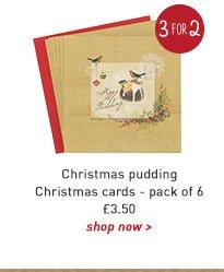 christmas pudding christmas cards - pack of 6