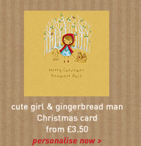 cute girl and gingerbread man card