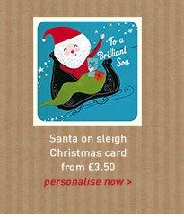 santa on sleigh card