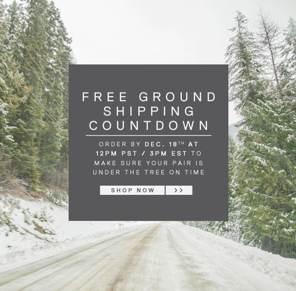 FREE GROUND SHIPPING COUNTDOWN. SHOP NOW.