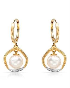 VIDA 14K Y/G Earrings with 0.04 CTW Pearls
