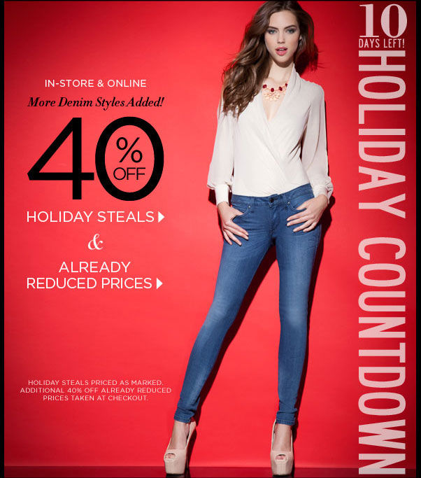 10 Days Left Holiday Countdown - In-Store & Online 40% Off