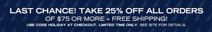 Take 25% off all orders of $75+ for a limited time only!See site for details.