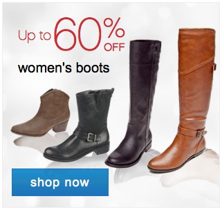 Up to 60% off Womens boots. Shop now.
