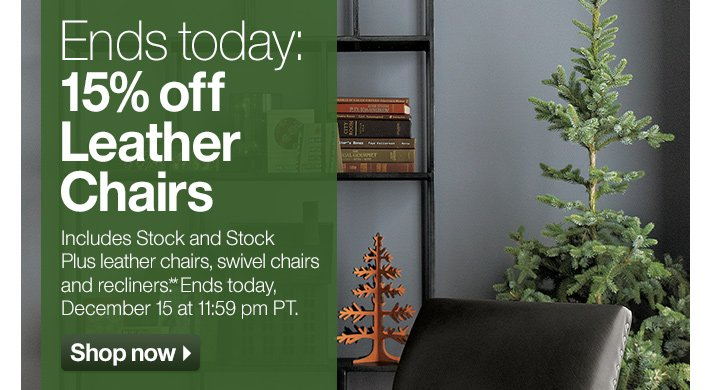 Ends today: 15% off Leather Chairs