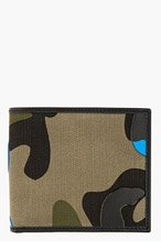 VALENTINO Green & blue leather patchwork camo wallet for men