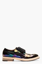 ACNE STUDIOS Black iridescent patent OIL slick Derbys for men