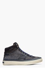 JIMMY CHOO Black leather & suede studded belgravia sneakers for men