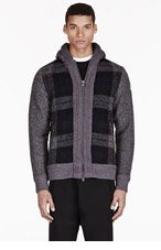 MONCLER Charcoal grey wool HOODED PLAID SWEATER for men