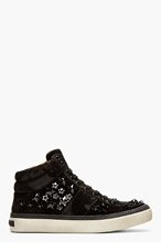 JIMMY CHOO Black Suede Belgravia Star Hi-Tops for men