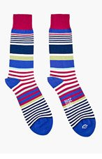 PAUL SMITH Navy JESTER STRIPE SOCKs for men