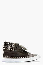 JIMMY CHOO Black Leather Studded Spencer Sneaker for men