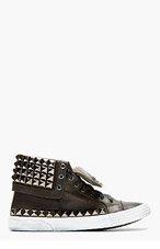 JIMMY CHOO Black Leather Studded Spencer Sneaker for men