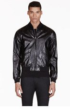 SAINT LAURENT Black Glossy Bomber Jacket for men