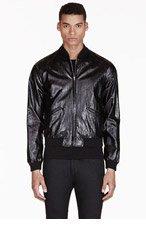 SAINT LAURENT Black Glossy Bomber Jacket for men