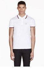 SAINT LAURENT White Monogrammed Polo for men