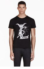 SAINT LAURENT Black Modified YSL Logo T-Shirt for men