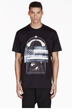 GIVENCHY Black Oversized American Flag T-Shirt for men