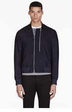 PAUL SMITH Navy Wool Bomber Jacket for men