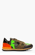 VALENTINO Green camouflage studded sneakers for men