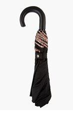 PAUL SMITH Black MULTISTRIPE TRIM CROOK UMBRELLA for men