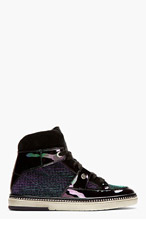 JIMMY CHOO Black Iridescent Petrol Mix Barlowe Hi-Tops for men